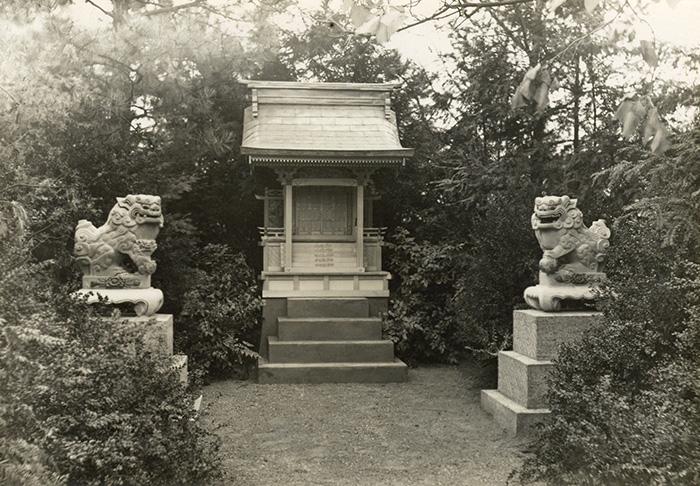 """Blick auf den Shinto-Schrein mit den beiden """"Löwen"""" im Japangarten, ca. 1927. Stadtarchiv Karlsruhe 7/Nl Gräff 14"""