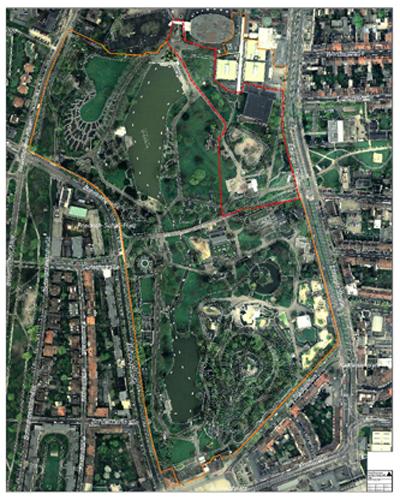 Rot: Gebiet der ersten Phase (Gesamtkonzept), Orange: Bereich der 2. Phase